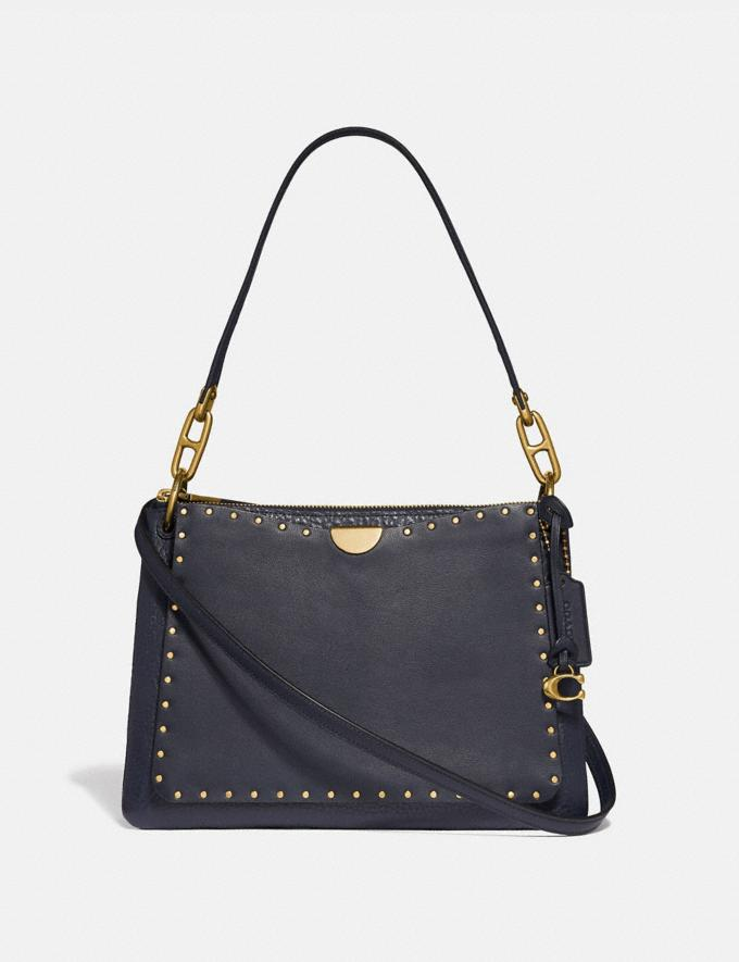 Coach Dreamer Shoulder Bag With Rivets Midnight Navy/Brass Women Bags Shoulder Bags