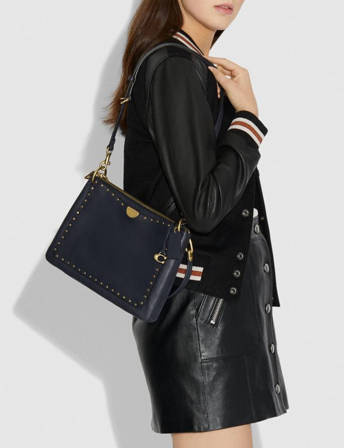 Coach Dreamer Shoulder Bag With Rivets Midnight Navy/Brass Women Bags Shoulder Bags Alternate View 3