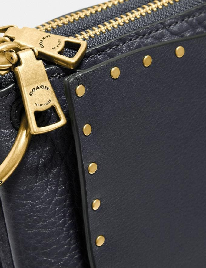 Coach Dreamer Shoulder Bag With Rivets Midnight Navy/Brass Women Bags Shoulder Bags Alternate View 4