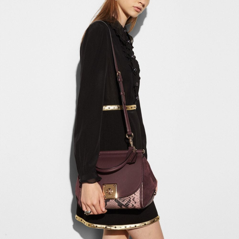 Drifter Top Handle Satchel in Colorblock Exotic Embossed Leather - Autres affichages A3