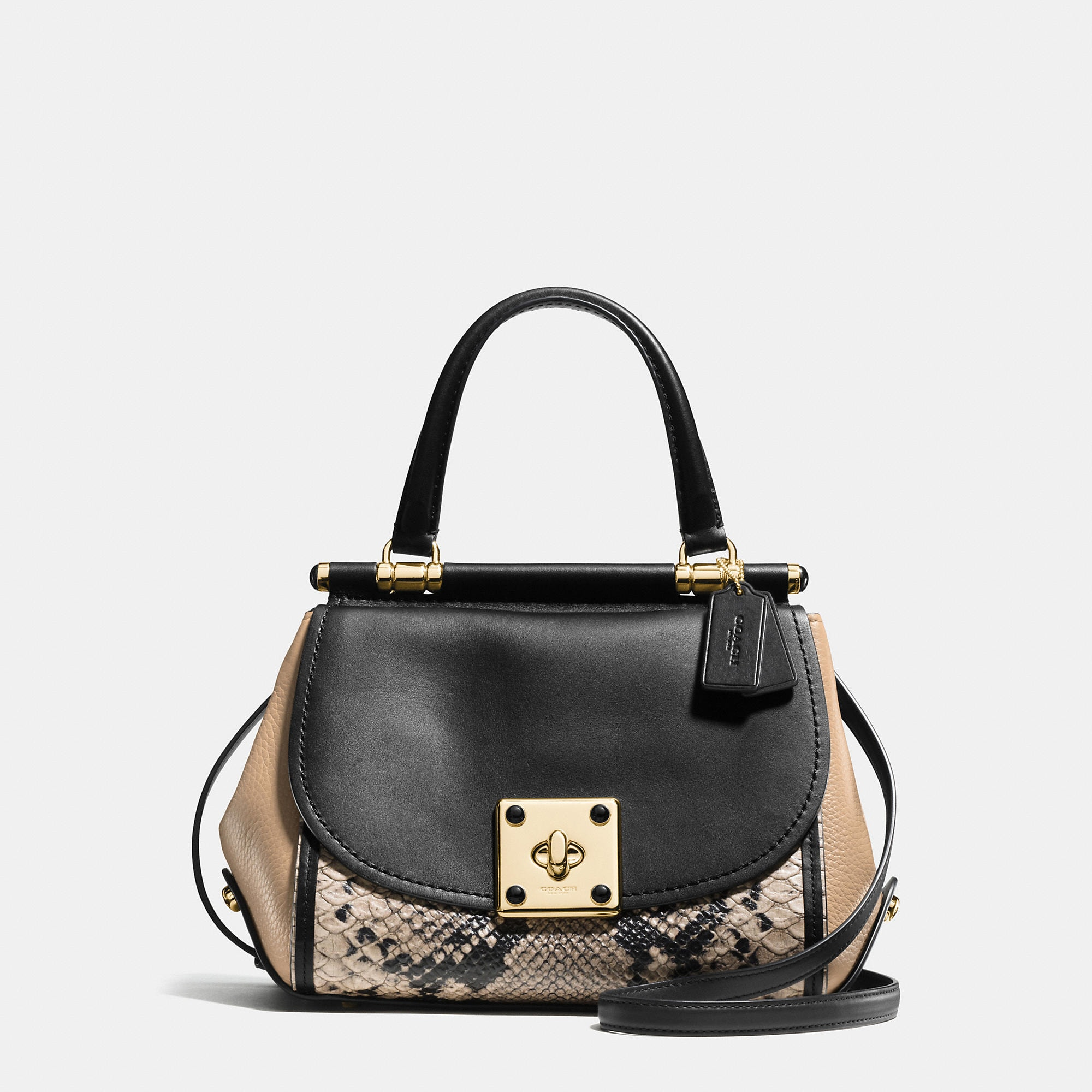 Coach Drifter Top Handle Satchel In Colorblock Exotic Embossed Leather