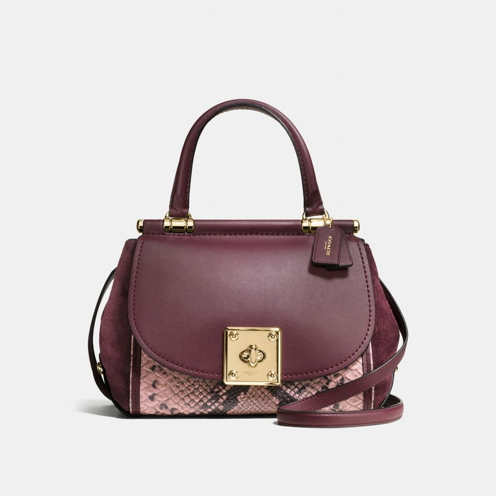 DRIFTER TOP HANDLE SATCHEL IN COLORBLOCK EXOTIC EMBOSSED LEATHER