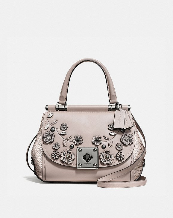 Coach Drifter Top Handle Satchel With Willow Floral Applique