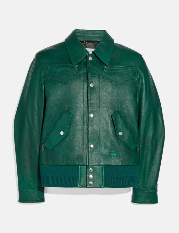 Coach Leather Blouson Green