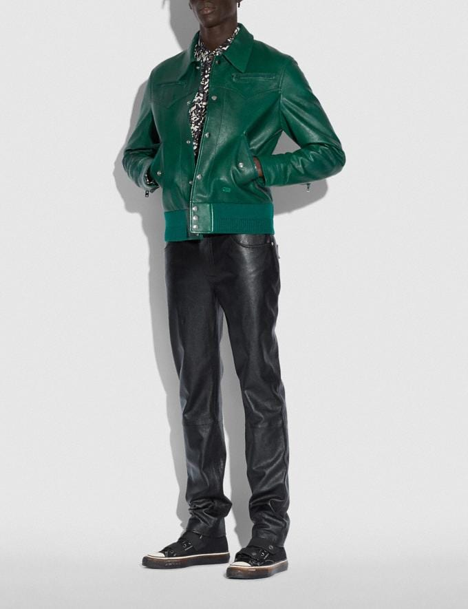 Coach Leather Blouson Green  Alternate View 1