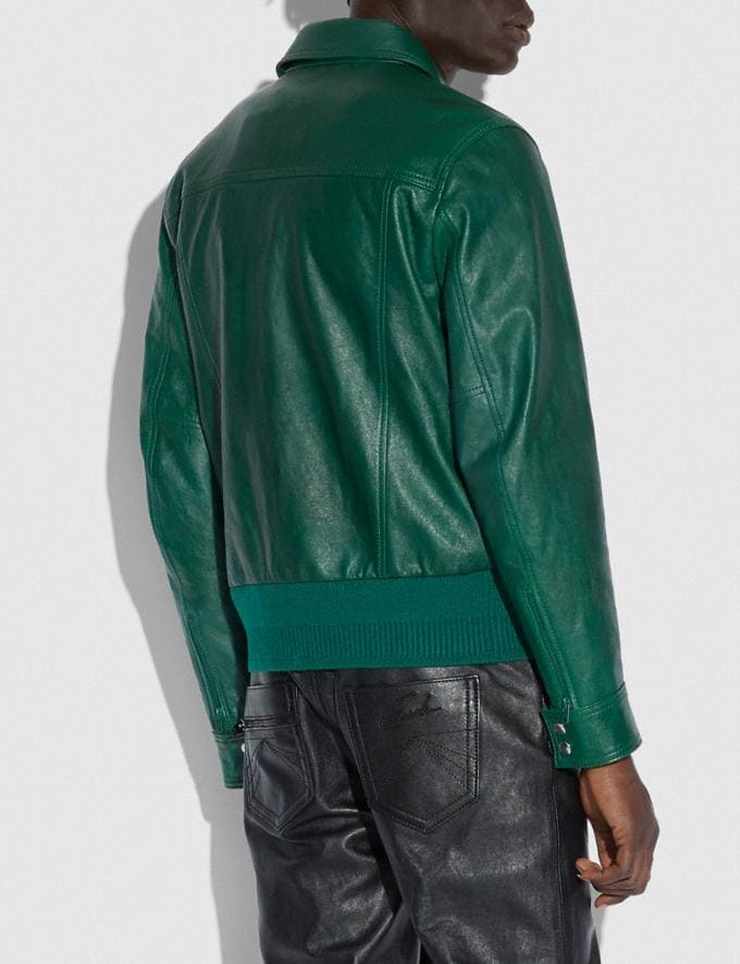 Coach Leather Blouson Green  Alternate View 2