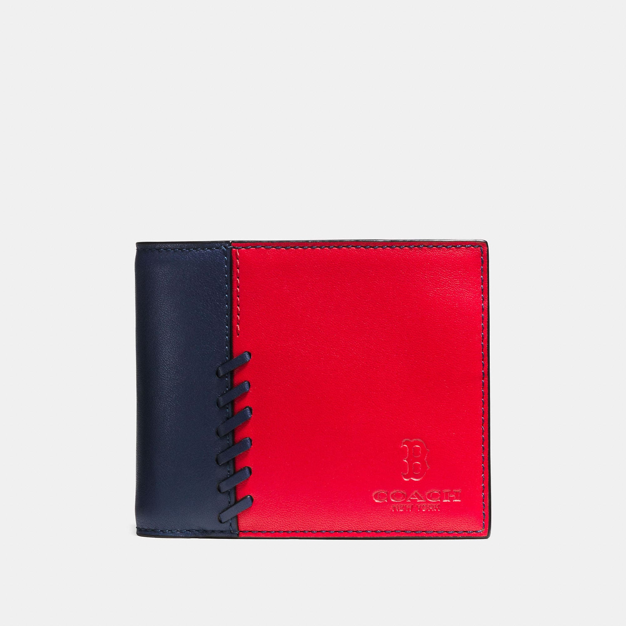 Coach Mlb Compact Id Wallet In Rip And Repair Leather