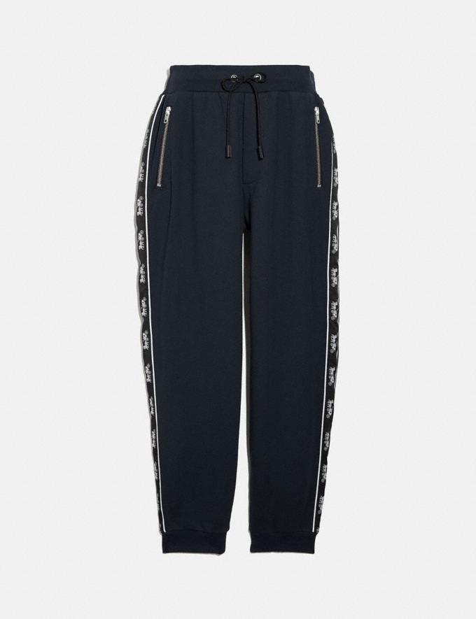 Coach Horse and Carriage Tape Sweatpants Navy New Men's New Arrivals Ready-to-Wear