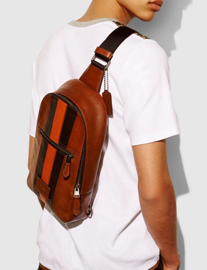 Coach Campus Pack With Varsity Stripe Black Antique Nickel/Dark Saddl Men Bags Backpacks Alternate View 2