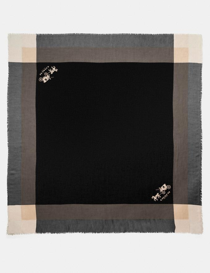 Coach Windowpane Challis Black Women Accessories Scarves