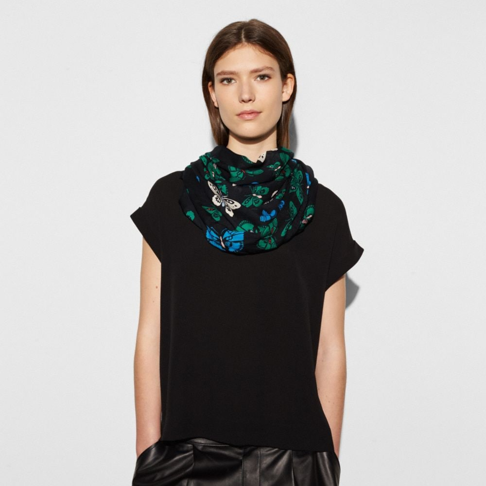 Coach Butterfly Oblong Scarf Alternate View 1