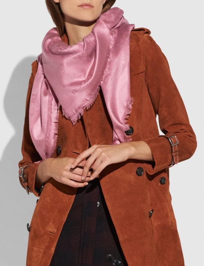 Coach Tonal Horse and Carriage Oversized Scarf Dusty Rose  Alternate View 1