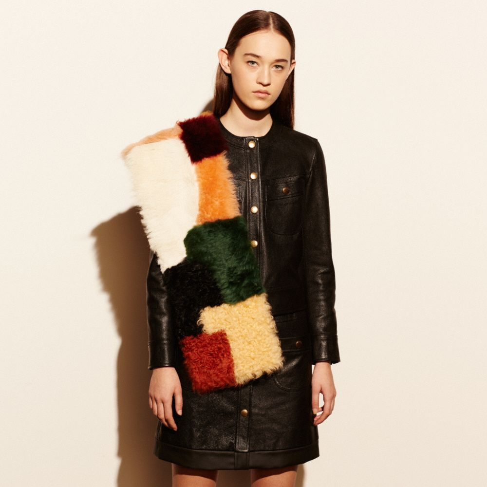 Coach Shearling Patchwork Shawl Alternate View 1