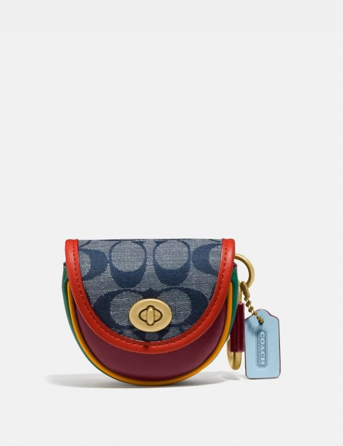 Coach Saddle Bag Charm in Signature Chambray Brass/Chambray Multi Women Accessories Bag Charms & Key Rings