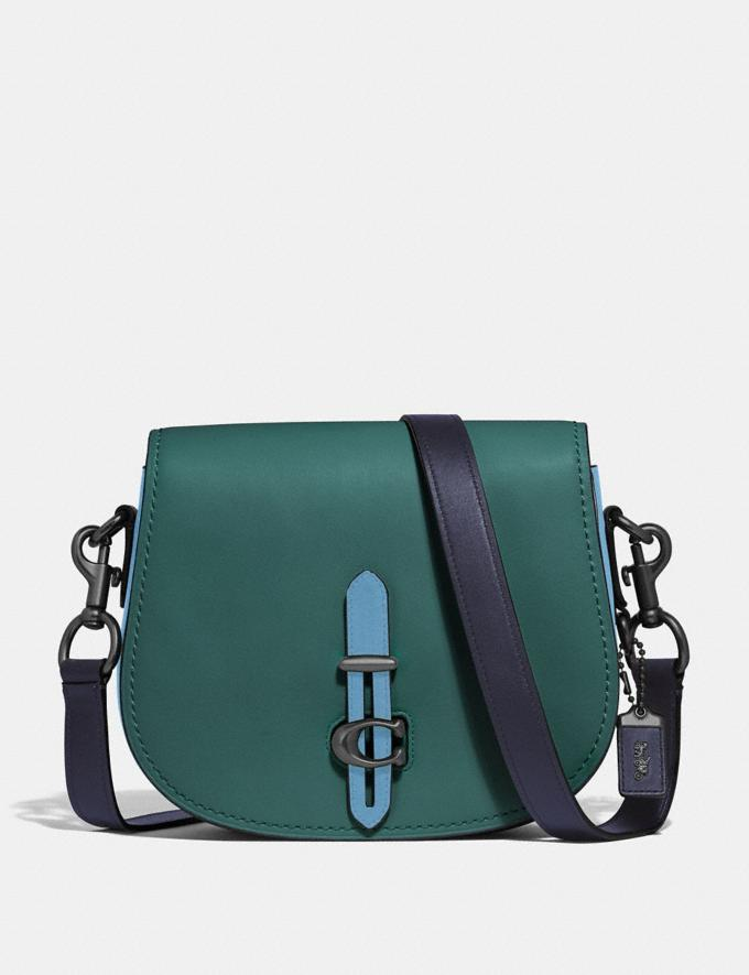 Coach Saddle in Colorblock Dark Turquoise Multi/Pewter Women Bags Crossbody Bags