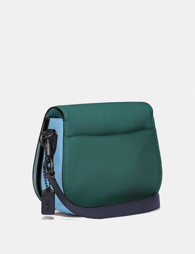 Coach Saddle in Colorblock Dark Turquoise Multi/Pewter Women Bags Crossbody Bags Alternate View 1