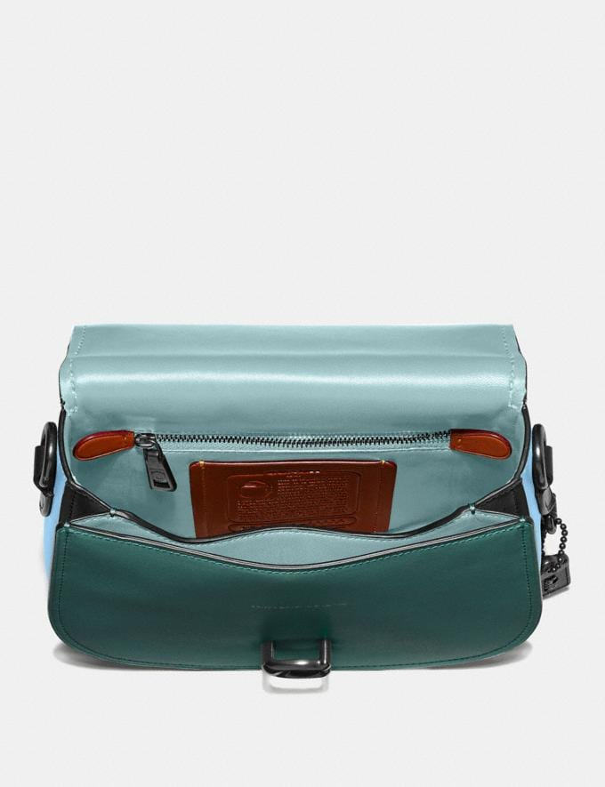 Coach Saddle in Colorblock Dark Turquoise Multi/Pewter Women Bags Crossbody Bags Alternate View 2
