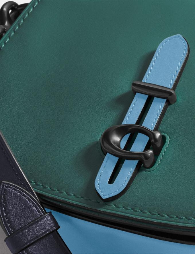 Coach Saddle in Colorblock Dark Turquoise Multi/Pewter Women Bags Crossbody Bags Alternate View 4