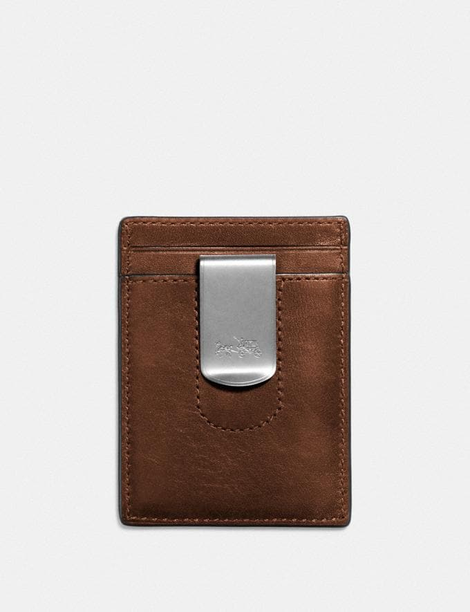 Coach 3-In-1 Card Case in Sport Calf Leather Dark Saddle New Men's Trends COACH x MLB Alternate View 1