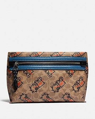 convertible academy pouch in signature canvas with abstract horse and carriage