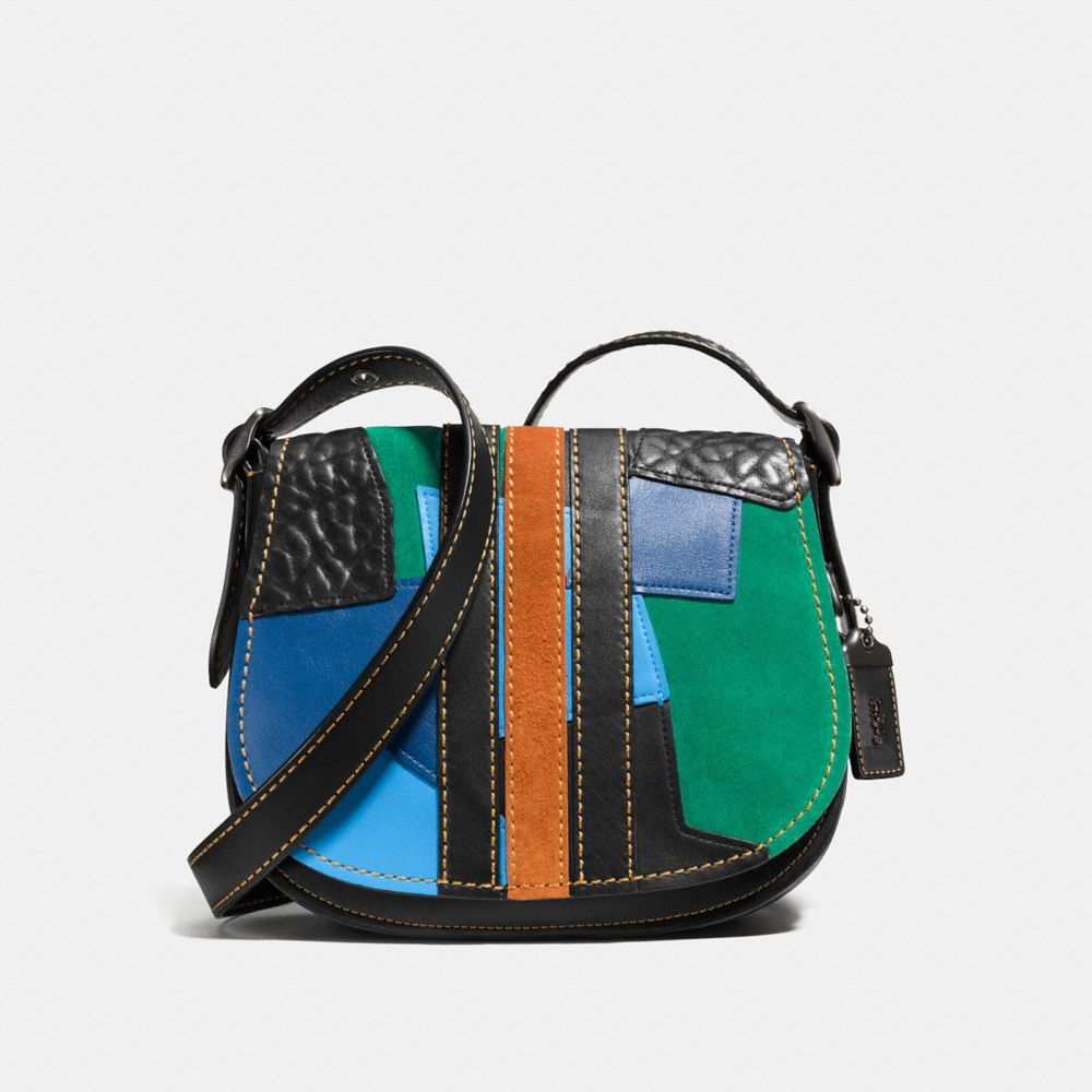Varsity Patchwork Saddle Bag 23 in Glovetanned Leather