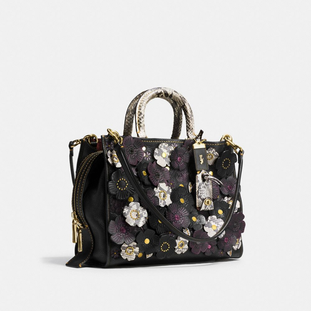 Tea Rose Applique Rogue Bag in Exotic Leather - Alternate View A2