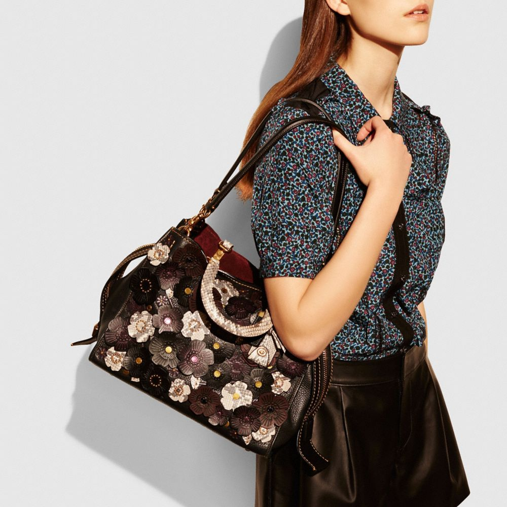 Tea Rose Applique Rogue Bag in Exotic Leather - Alternate View A4