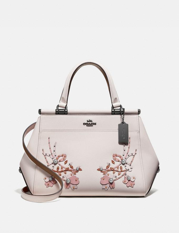 Coach Grace Bag With Floral Embroidery Chalk/Pewter Women Bags Satchels & Carryalls