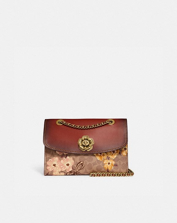 Coach PARKER IN SIGNATURE CANVAS WITH PRAIRIE FLORAL PRINT