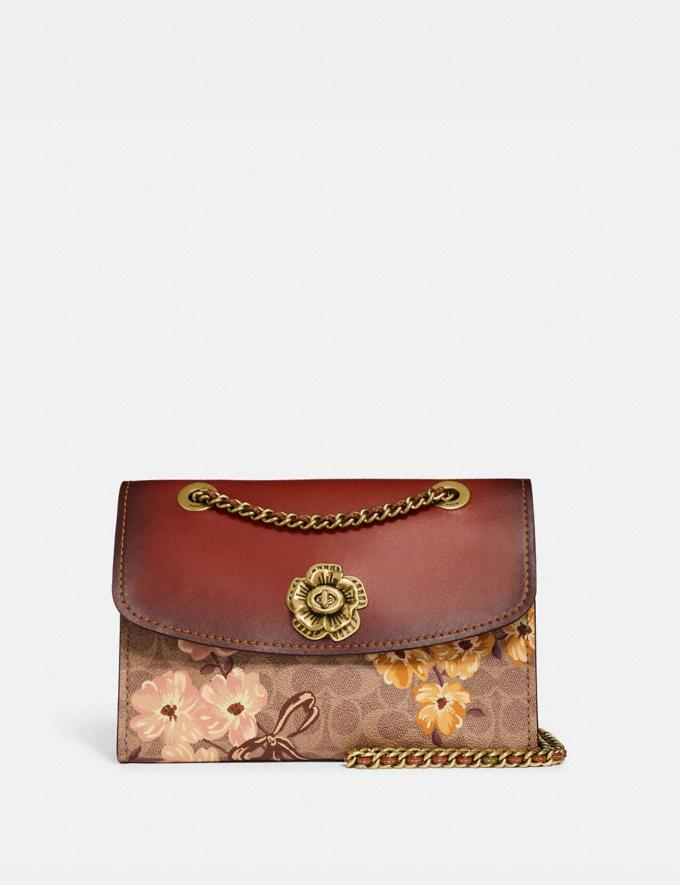 Coach Parker in Signature Canvas With Prairie Floral Print Tan/Rust Bow/Brass New Featured Signature Styles