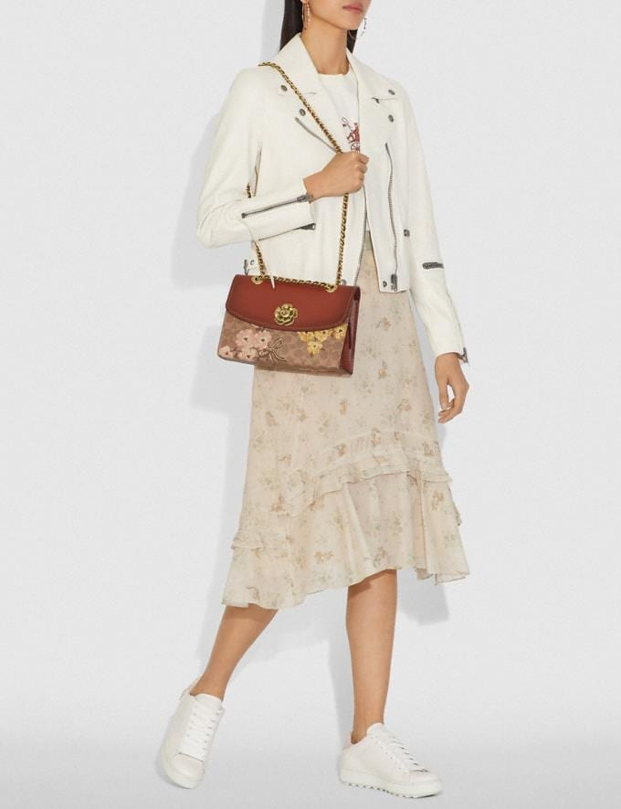 Coach Parker in Signature Canvas With Prairie Floral Print Tan/Rust Bow/Brass New Featured Signature Styles Alternate View 4