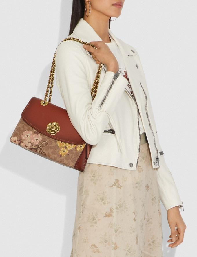 Coach Parker in Signature Canvas With Prairie Floral Print Tan/Rust Bow/Brass New Featured Signature Styles Alternate View 5