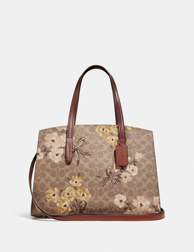 Coach Charlie Carryall in Signature Canvas With Prairie  Floral Print Tan/Rust Bow/Brass Women Bags Satchels & Carryalls