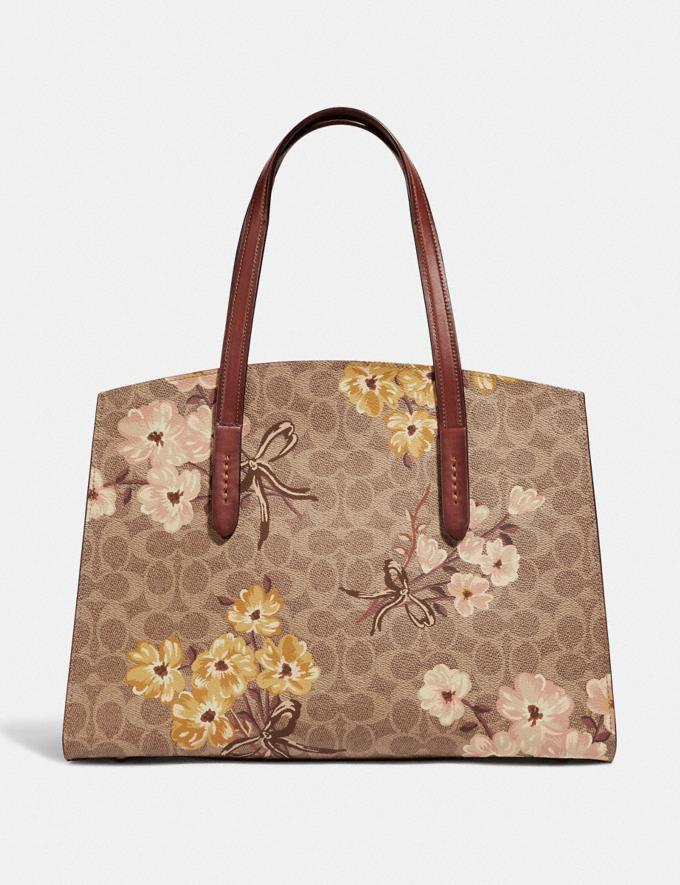 Coach Charlie Carryall in Signature Canvas With Prairie  Floral Print Tan/Rust Bow/Brass Women Bags Satchels & Carryalls Alternate View 2