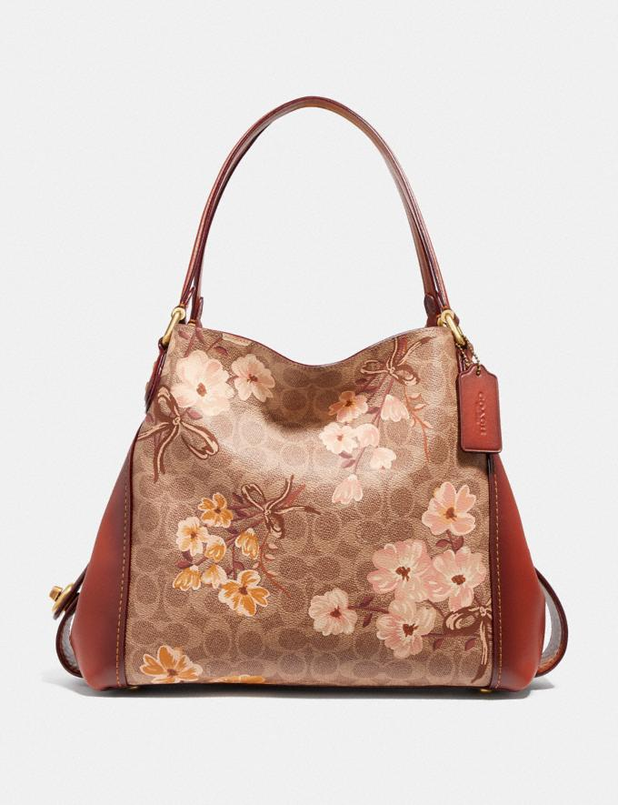Coach Edie Shoulder Bag 31 in Signature Canvas With Prairie Floral Print Tan/Rust Bow/Brass Women Bags Shoulder Bags