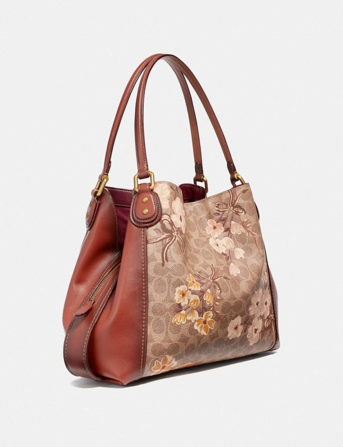Coach Edie Shoulder Bag 31 in Signature Canvas With Prairie Floral Print Tan/Rust Bow/Brass Women Bags Shoulder Bags Alternate View 1