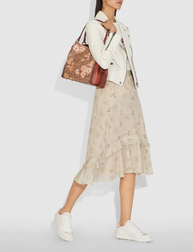 Coach Edie Shoulder Bag 31 in Signature Canvas With Prairie Floral Print Tan/Rust Bow/Brass Women Bags Shoulder Bags Alternate View 4