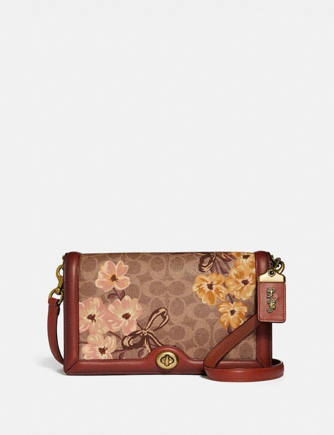 Coach Riley in Signature Canvas With Prairie Floral Print Tan/Rust Bow/Brass Women Bags Crossbody Bags