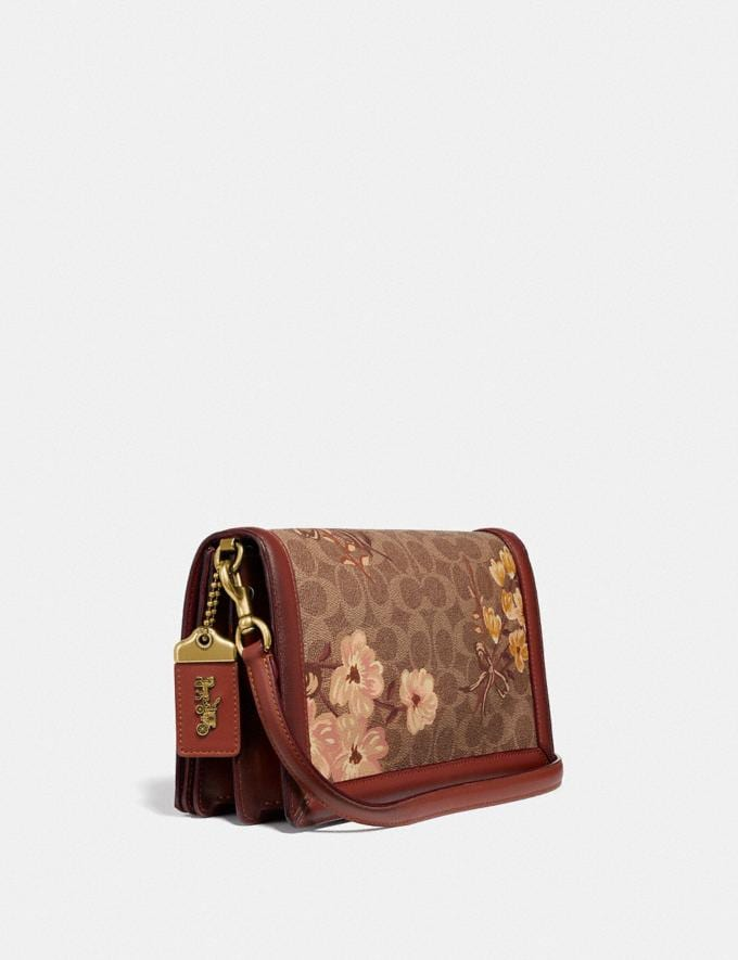 Coach Riley in Signature Canvas With Prairie Floral Print Tan/Rust Bow/Brass Women Bags Crossbody Bags Alternate View 1