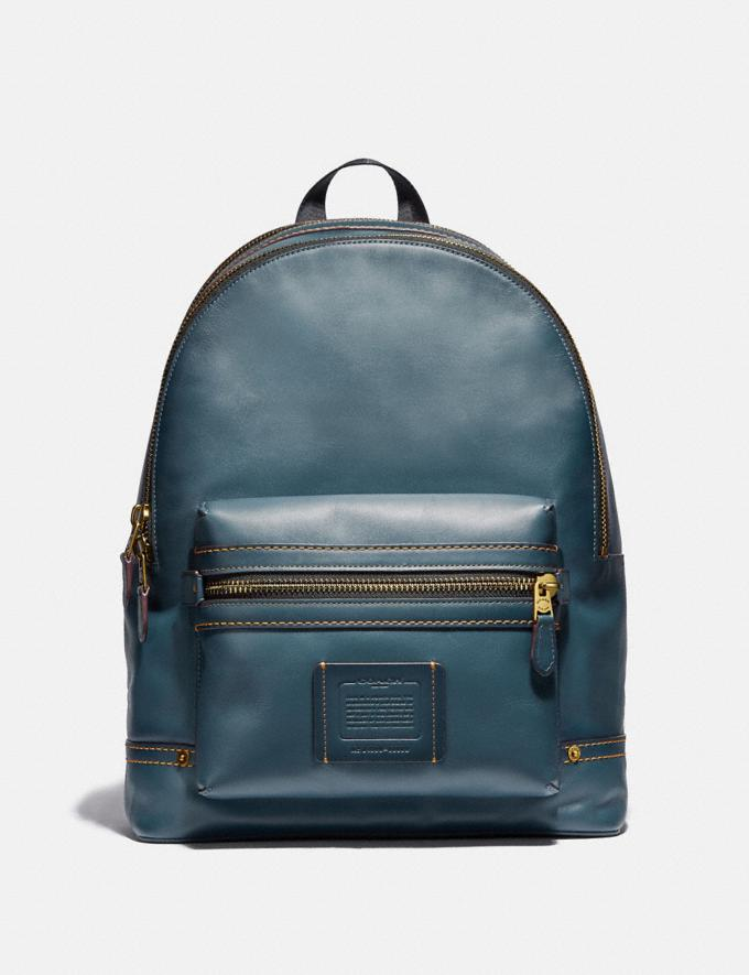 Coach Academy Backpack Denim/Brass Men Bags Backpacks