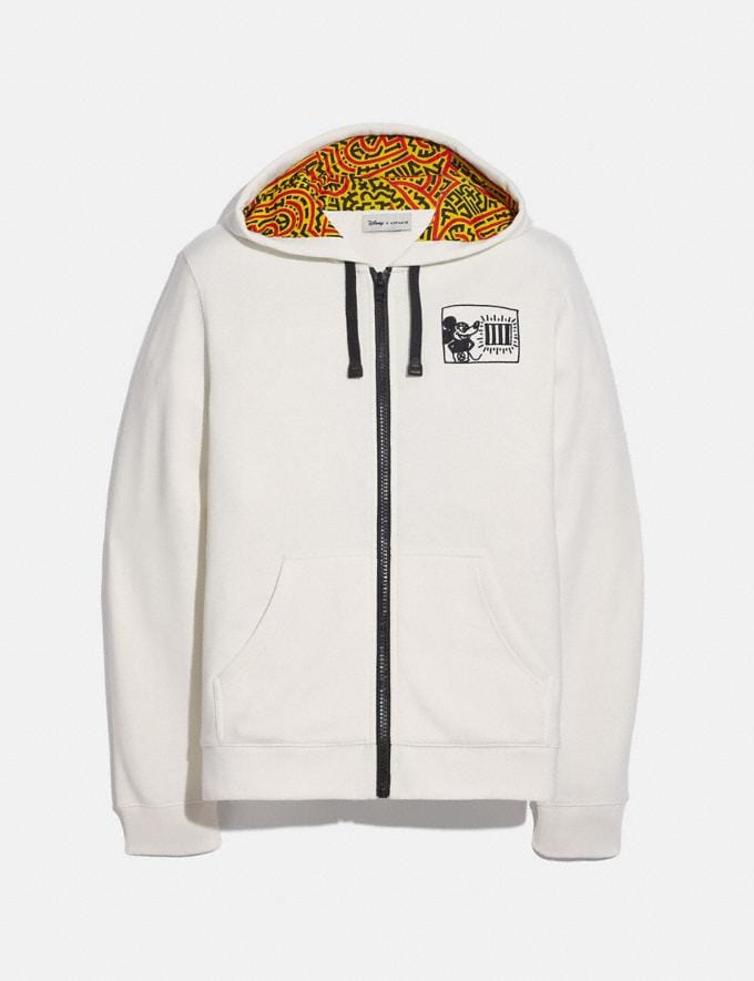 Coach Disney Mickey Mouse X Keith Haring Full Zip Hoodie White Men Ready-to-Wear Tops & Bottoms