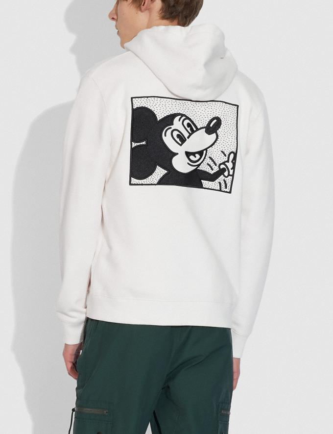 Coach Disney Mickey Mouse X Keith Haring Full Zip Hoodie White Men Ready-to-Wear Tops & Bottoms Alternate View 3