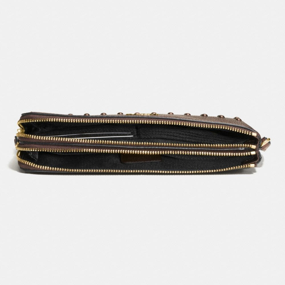 Coach Lacquer Rivets Double Zip Wallet in Pebble Leather Alternate View 1
