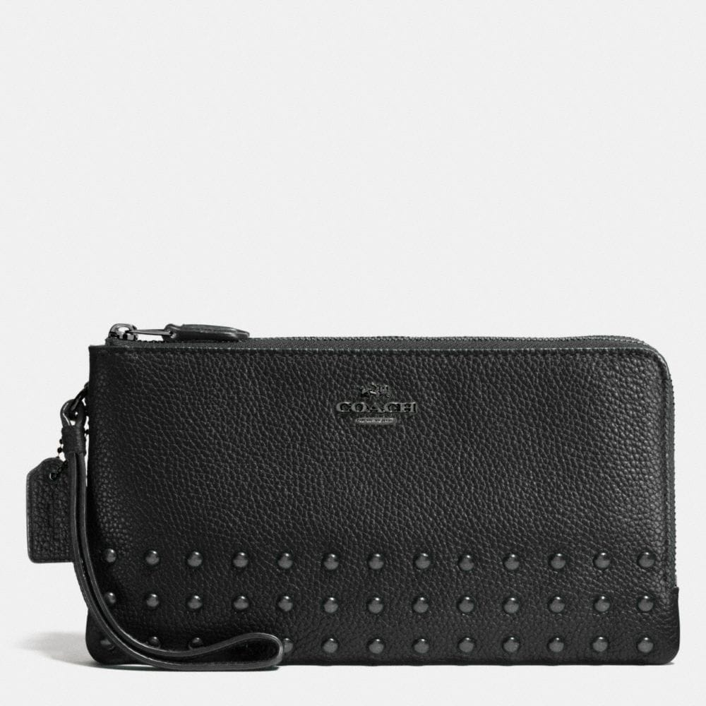Lacquer Rivets Double Zip Wallet in Pebble Leather