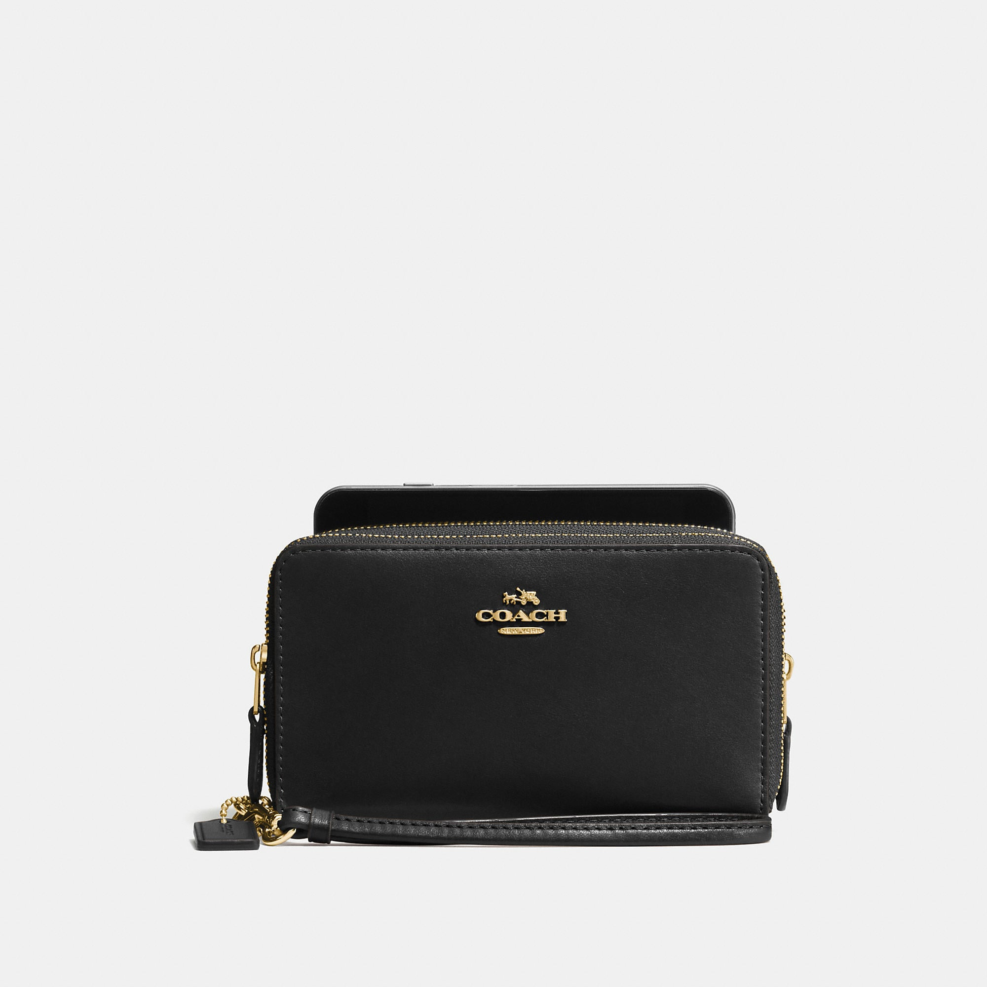 Coach Double Zip Phone Wallet In Smooth Leather
