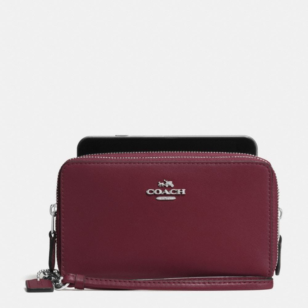 DOUBLE ZIP PHONE WALLET IN SMOOTH LEATHER