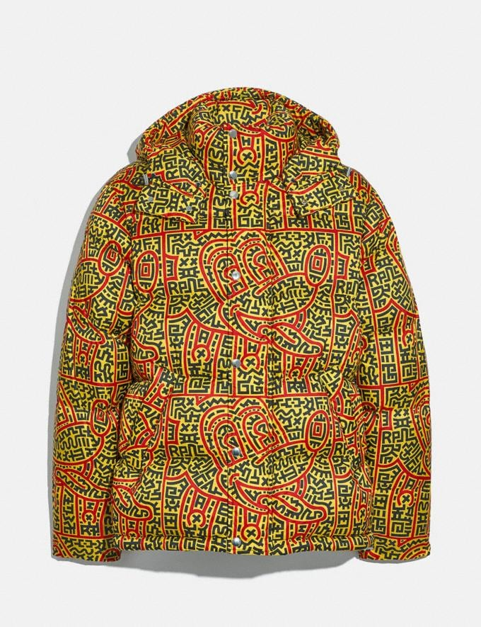 Coach Disney Mickey Mouse X Keith Haring Puffer Yellow Multicolor Men Ready-to-Wear Coats & Jackets