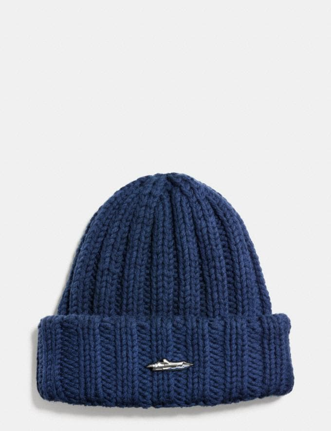 Coach Ribbed Chunky Hat Navy Men Ready-to-Wear Hats, Scarves & Gloves