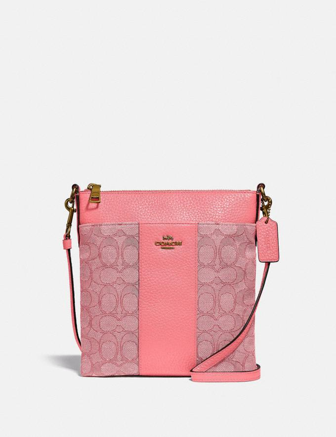 Coach Kitt Messenger Crossbody in Signature Jacquard Brass/Taffy Taffy
