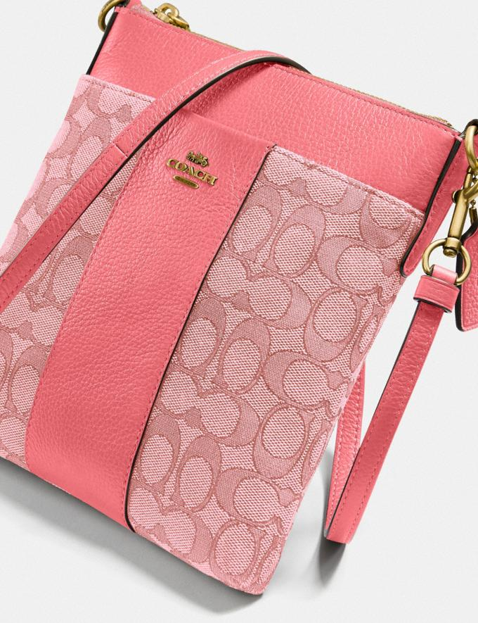 Coach Kitt Messenger Crossbody in Signature Jacquard Brass/Taffy Taffy  Alternate View 4